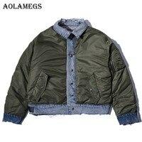 Aolamegs Denim Jacket Men Holes Reversible Washed Cowboy Casual Men S Jacket Pocket High Street Fashion