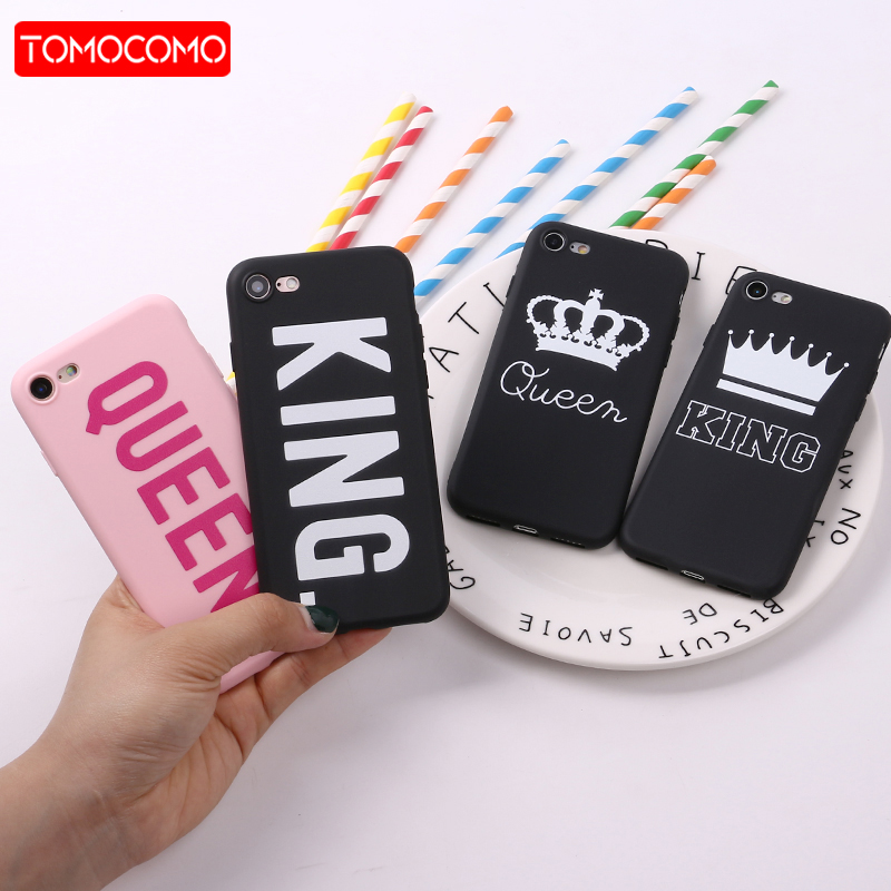 For iPhone 11 Pro 8 8Plus X 7 7Plus 6 6S 5 SE Couple Crown King Queen Hot Pink Soft TPU Silicone Matte Case Fundas Coque XS Max(China)