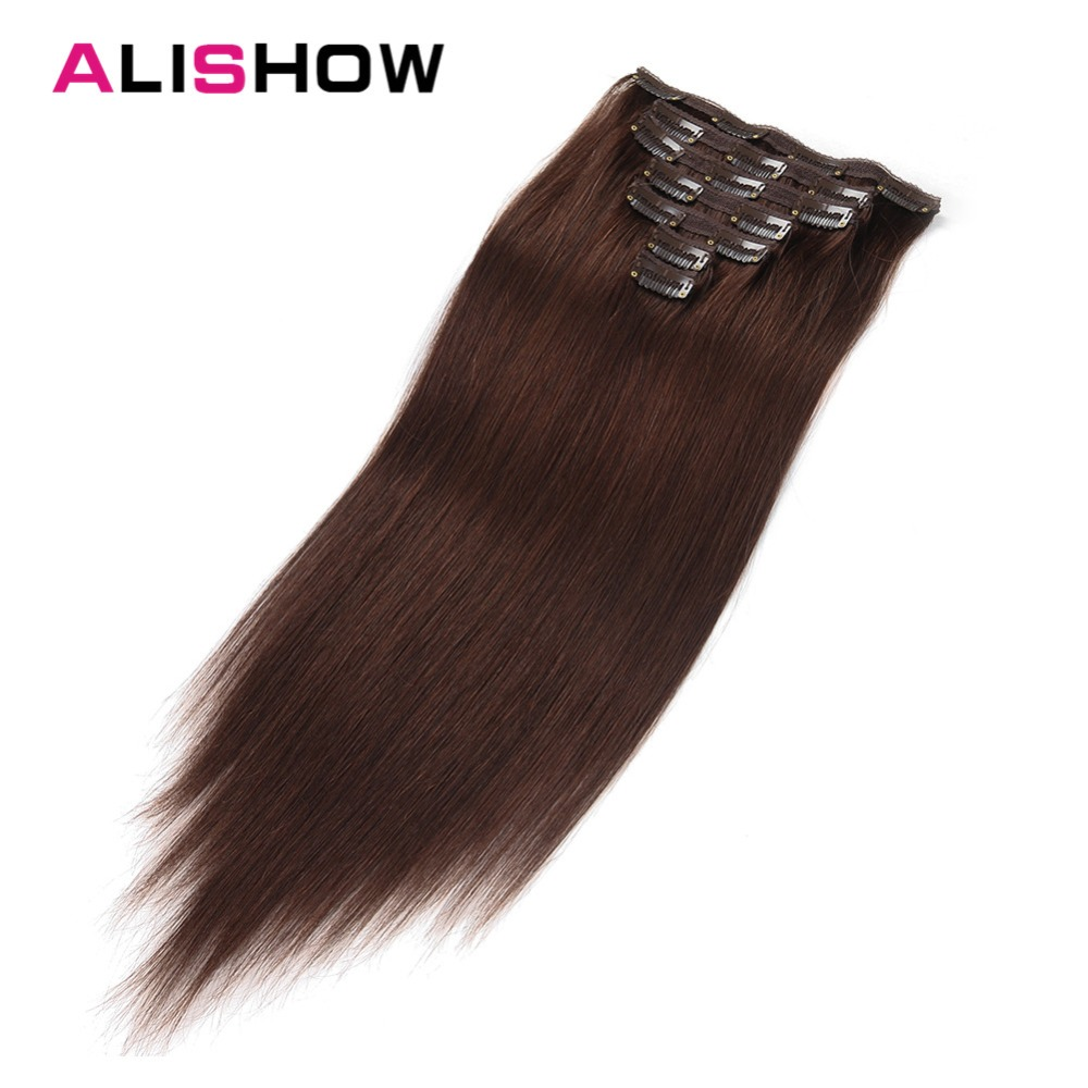 Alishow Clip In Human Hair Extensions Double Drawn Remy Clips In Hair Extensions 7pcs 100g/pack Thick And Soft Straight Hair