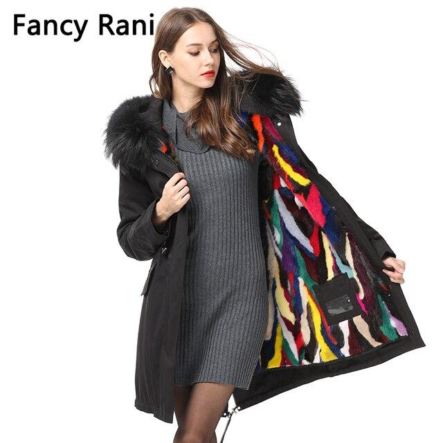 57622132ed Real Fur Parka Hooded Raccoon Fur Collar Detachable Winter Jacket Women  Natural Mink Fur Coat Street Style Thick Warm Fur Parkas