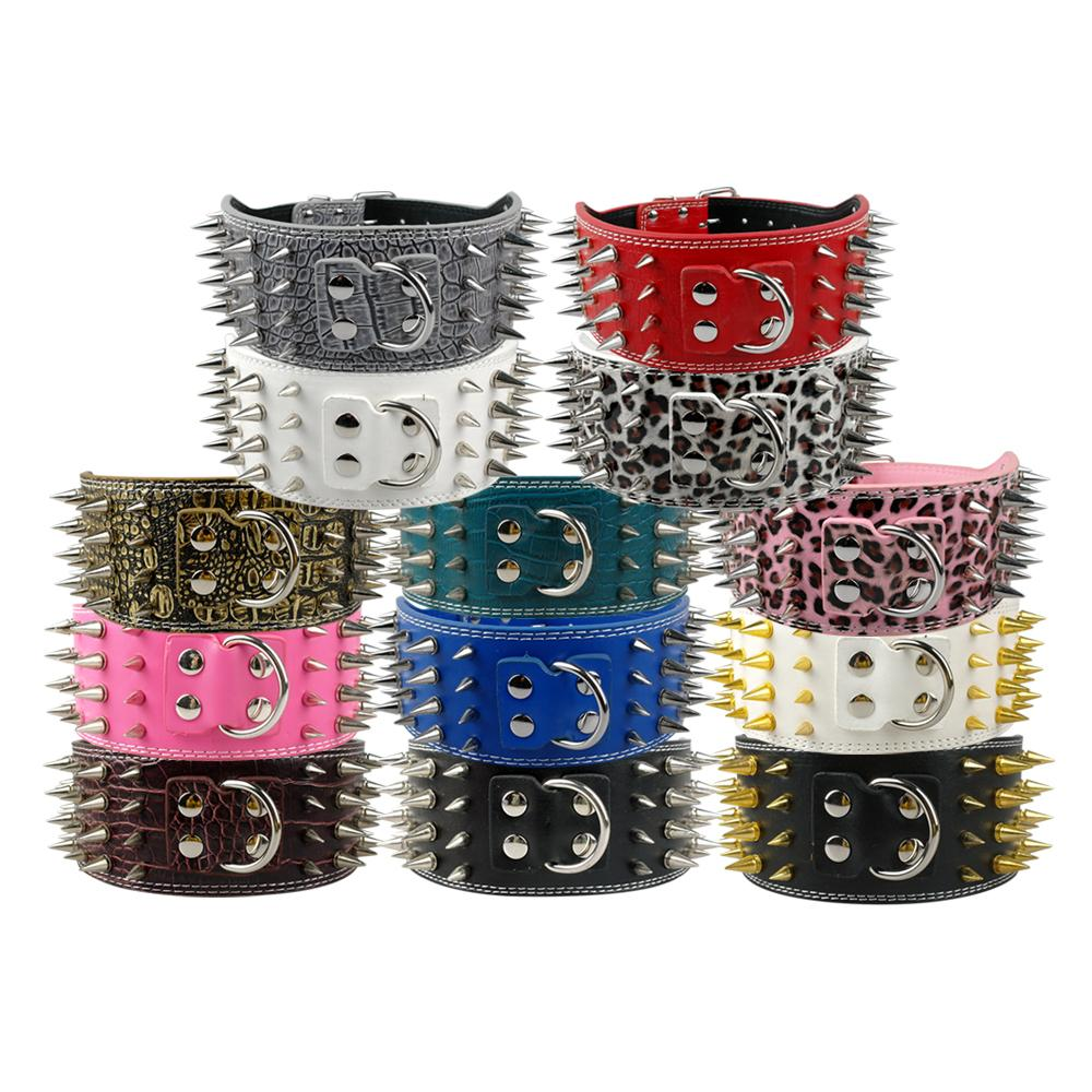 New Style 3 inch Wide 11 Colors Spiked Studded PU Leather Large Dog Collars For Pit Pitbull Spiked Dog Collars