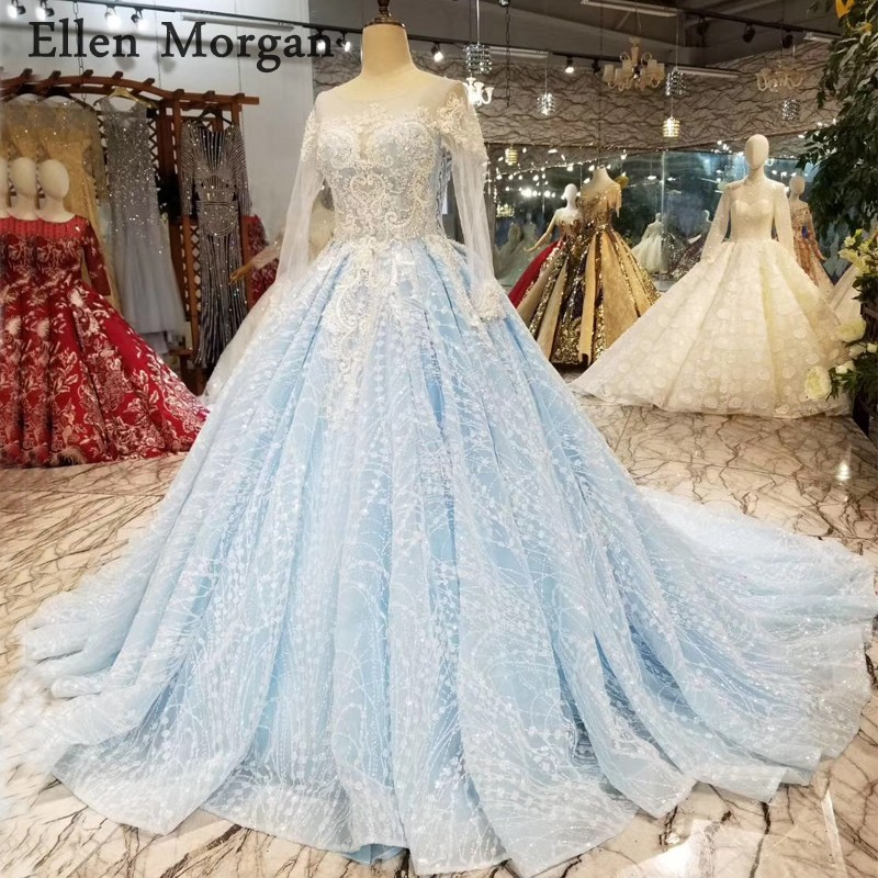 Colorful Long Sleeves Ball Gowns Wedding Dresses Boat Neck Sky Blue Lace Transparent African Black Girls Puffy Bridal Gowns