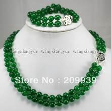 Jewelry Pearl Set fine jewelry 8mm Green Jade Jewelry 2Rows Necklace Bracelet Set Silver Clasp Free Shipping(China)