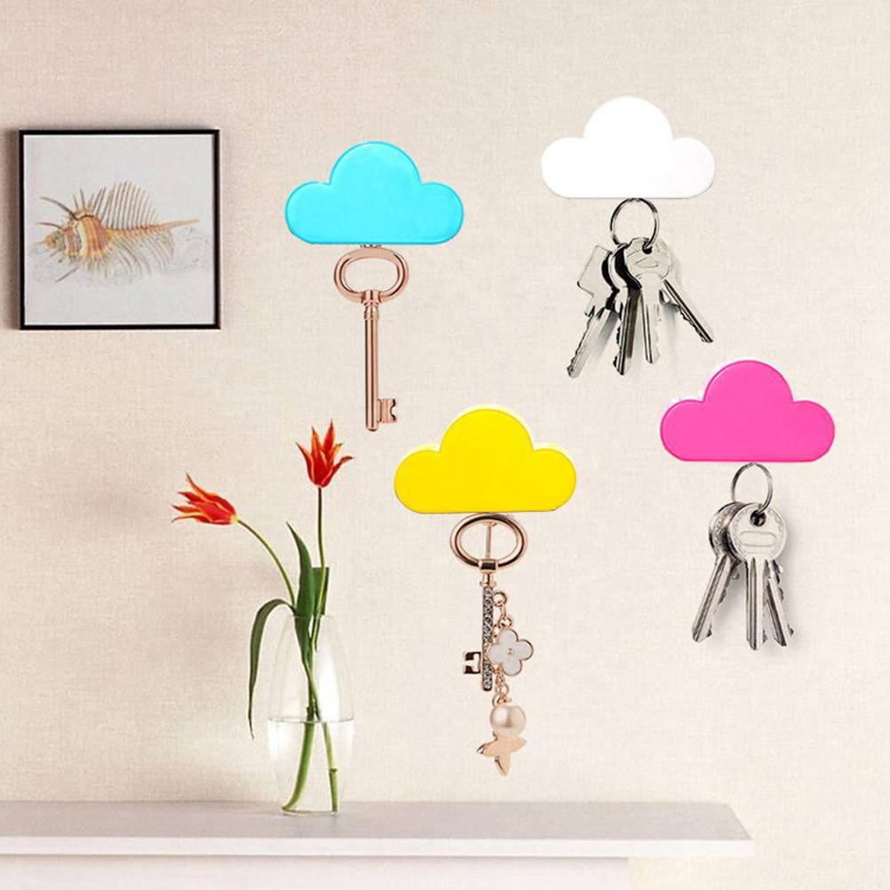 2 Pcs Cute Keychains Creative Home Storage Key Holder White Cloud Shape Magnetic Key Holder Magnets Keyrings(China)