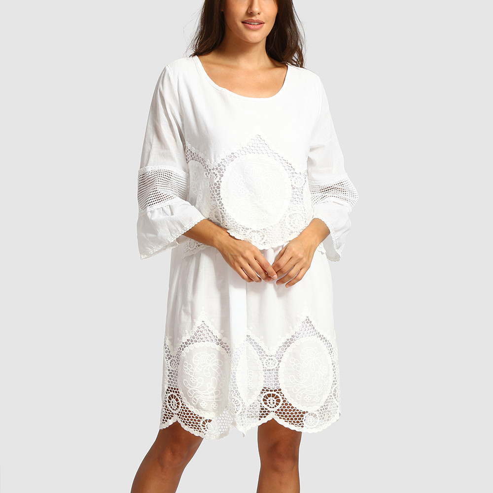 49c7a13ca2 Women Dress Fashion Plus Size White Lace Embroidery Hollow out Round Neck  Boho Beach Dress O Neck Solid Dress Freeship F#M30 -in Dresses from Women's  ...