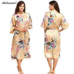 Шелковый Атласный Свадебный халат невесты Ретро Цветочный халат кимоно халат ночной халат банный Элегантный принт халат для женщин