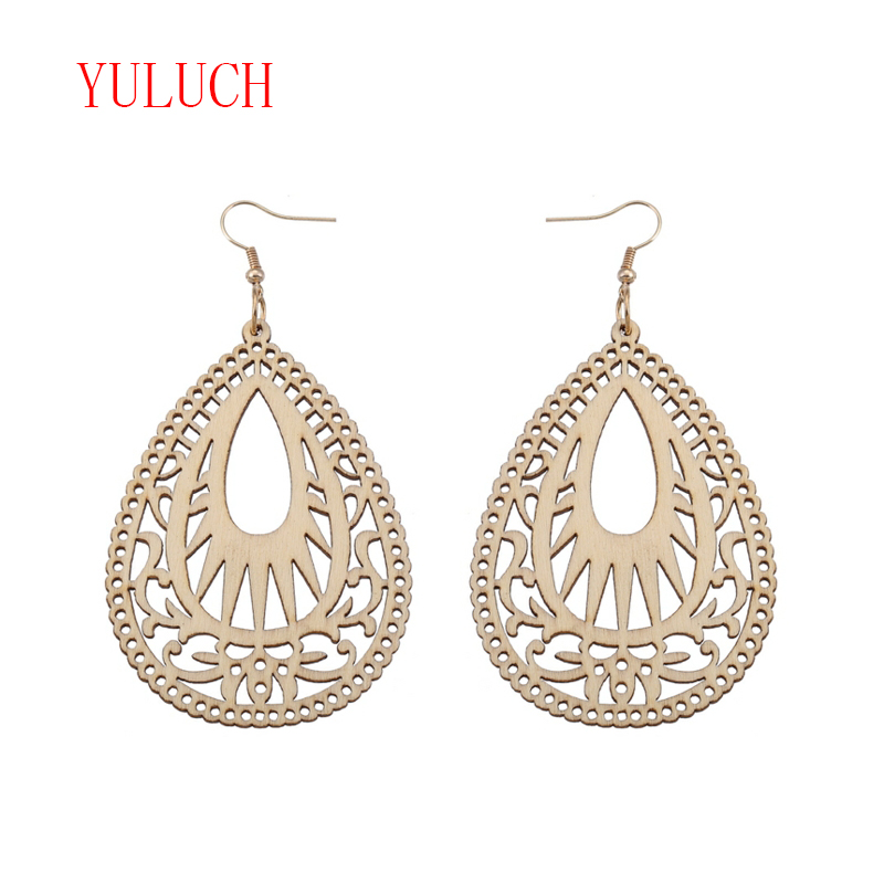 YULUCH African National Jewelry Accessories Water Drops Hollow Vintage Carved Texture Pendant for Fashion Woman Earrings Gifts