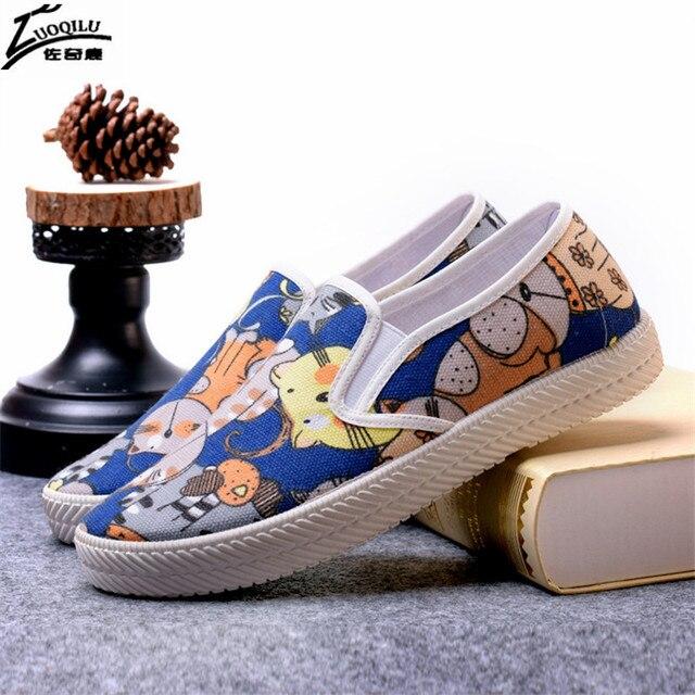 women shoes flat canvas shoes soft Breathable ladies Shoes students print shoes woman