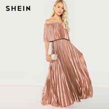 SHEIN フラウンス折り返しフロントオフショルダープリーツフリルハイウエストマキシドレス女性 2019 春エレガントなピンクのパーティードレス