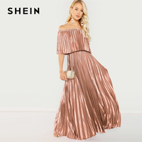 SHEIN Flounce Foldover Front Off Shoulder Pleated Ruffle High Waist Maxi Dress Women 2019 Spring Elegant Pink Party Dresses