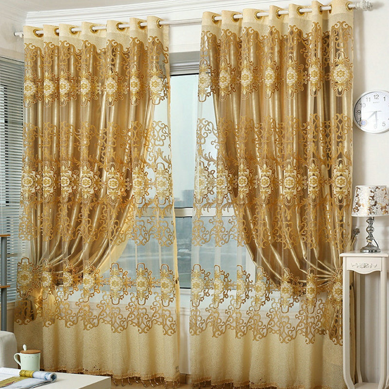 buy ready made window curtains red golden