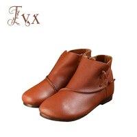 Tayunxing 2018 Handmade Shoes Genuine Leather Women Boots Zipper Retro Comfort Low Heels 6066 9