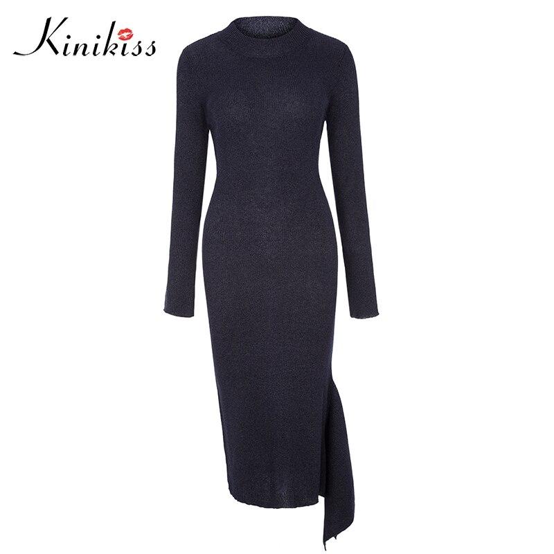 Kinikiss women knitted sweater dress fashion elegant sexy bodycon asymmetric mid-calf round neck women elegant dress plain asymmetric v neck ruffled work bodycon dress