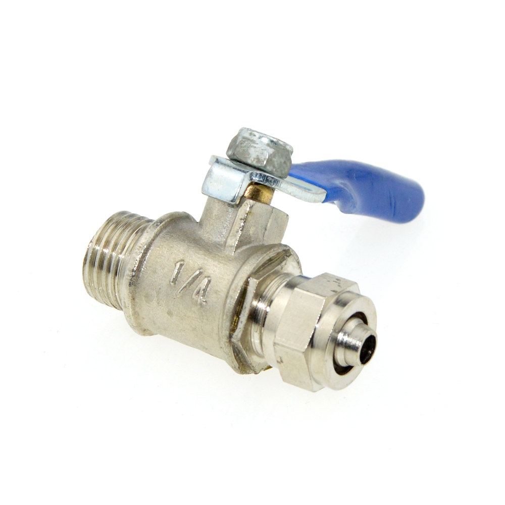 6mm OD Tube Straight 1/4BSPT 12.7mm OD Male Thread Metal Ball Valve Connect with Pneumatic 6x4 mm PU Hose brass pneumatic pipe 1 4 bspt to 1 4 bspt male thread m m equal union hex nipple