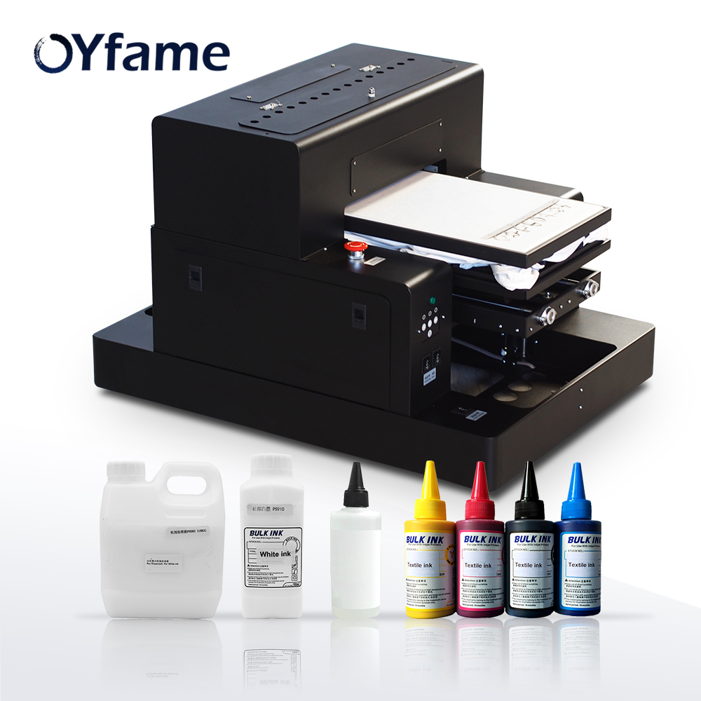 OYfame A3 Flatbed Printer DTG Printer Multifunction printer for t shirt Printing Machine With Holder Frame With Textile Ink Set