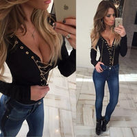 MOONIGHT Sexy Chain Lace Up Blouse Shirt Slim Deep V Neck Gold Chain Bandage Long Sleeve