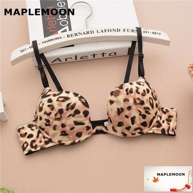 acc24bd98 1919 Leopard sexy bra gather students Dropshipping U type cup bras Single  row buckle underwear Summer girl Seamless shell cup