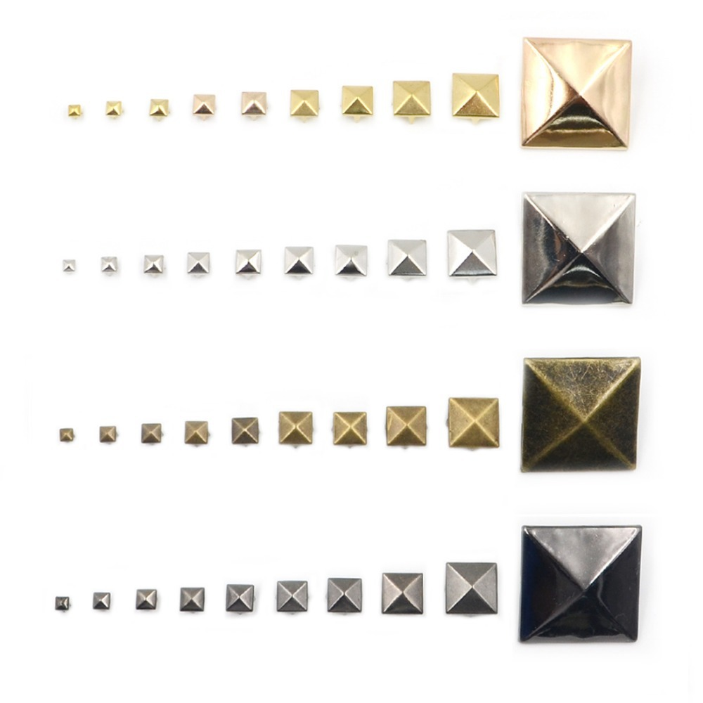 Lighting Basement Washroom Stairs: 100pcs 4mm Mix 4 Colors Square Pyramid Studs Rivets Spots