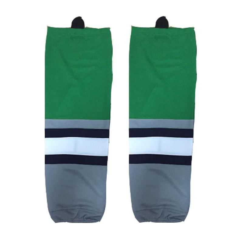 COLDINDOOR 100% Polyester green Ice Hockey Socks Cheap Shin Guards W008