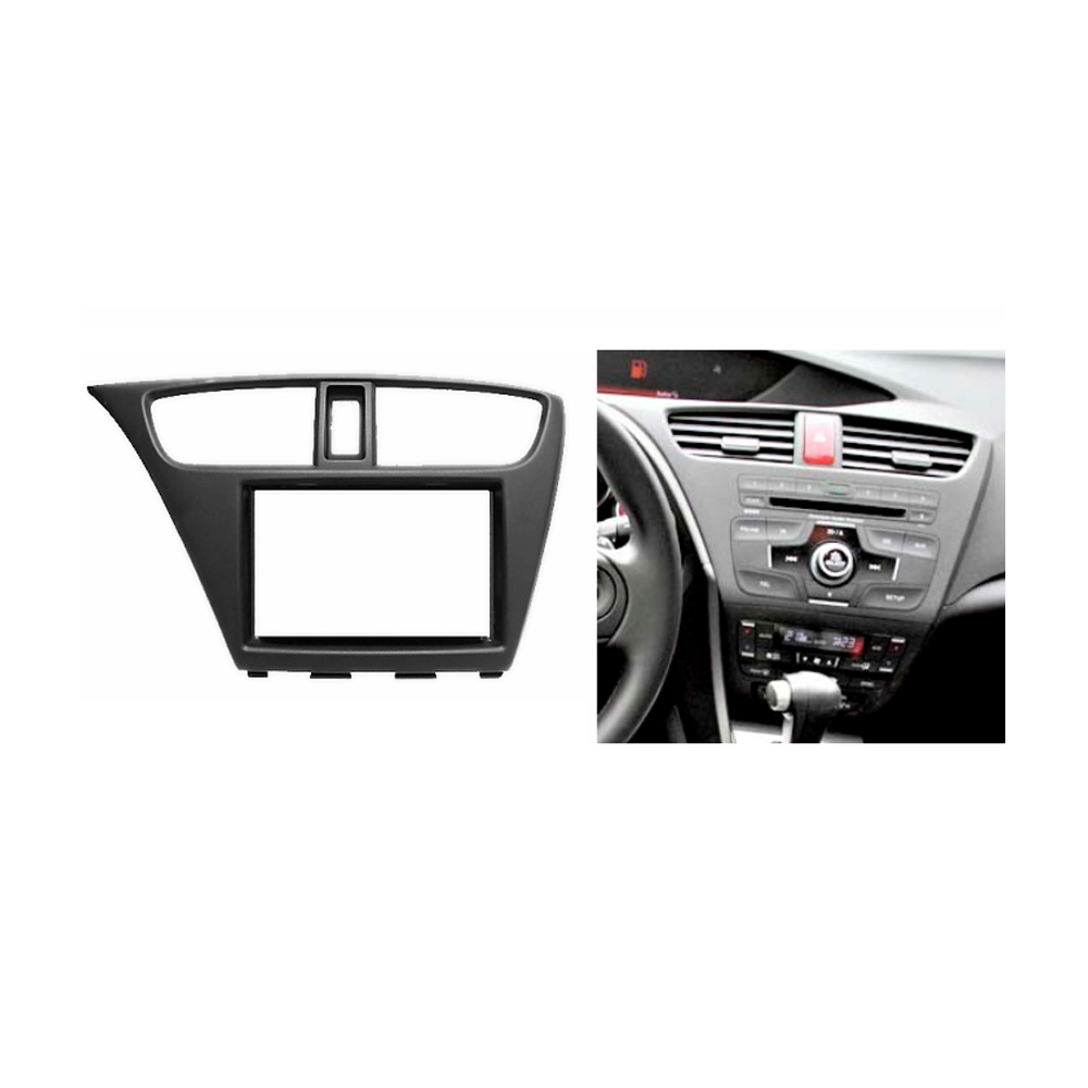 Double Din Fascia for HONDA Civic Hatchback 2012+ Radio CD GPS DVD Stereo CD Panel Dash Mount Installation Trim Kit Frame 2 din car dvd frame dashboard kits front bezel radio frame adaper dvd cover dash trim kit for kia rio 5 door rhd double din