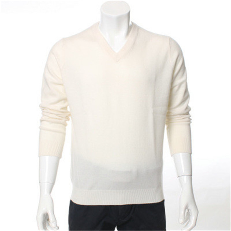 New Arrival 100%goat Cashmere V-neck Knit Men Fashion Solid Pullover Sweater H-straight Red 6color S-2XL