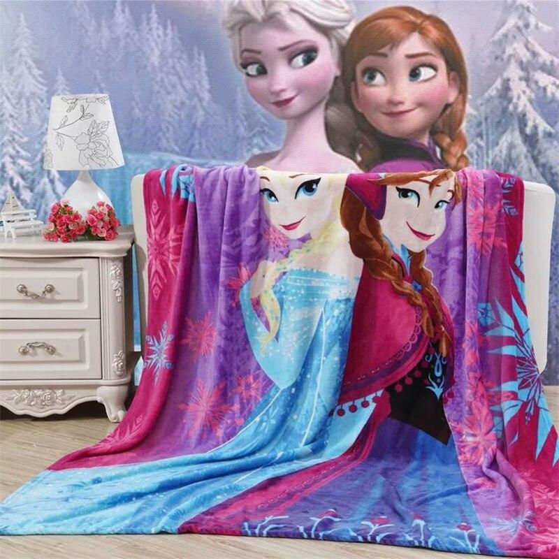 Disney Frozen Elsa Children Coral Fleece Baby Kids Girls Cartoon Mickey Car  Thin Lightweight Throw Blanket 70X100cm