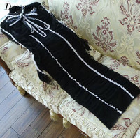 High Quality black lace dress long sleeve autumn dresses women vintage long dress with bow