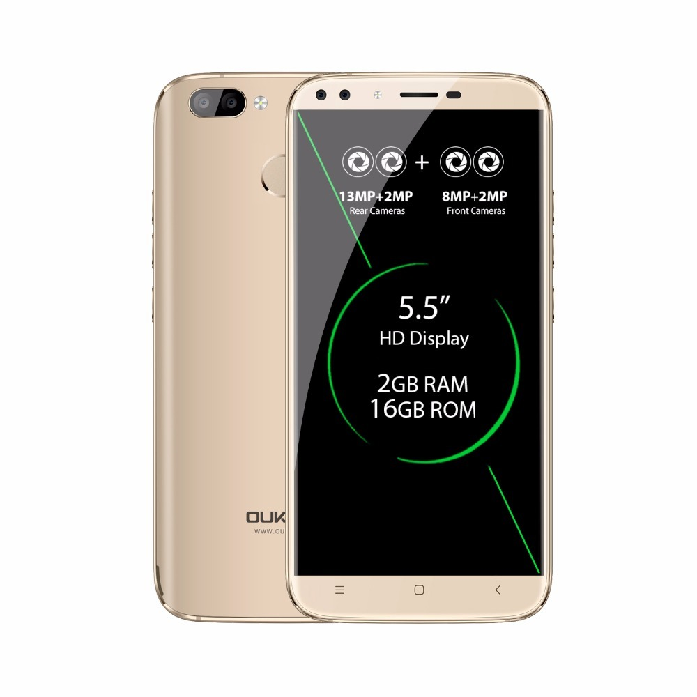 Oukitel U22 Cellphone MTK6580A Quad Core Android 7.0 2GB RAM+16GB ROM 2700mAh 8MP Four Cameras 5.5 Inch Mobile Phone