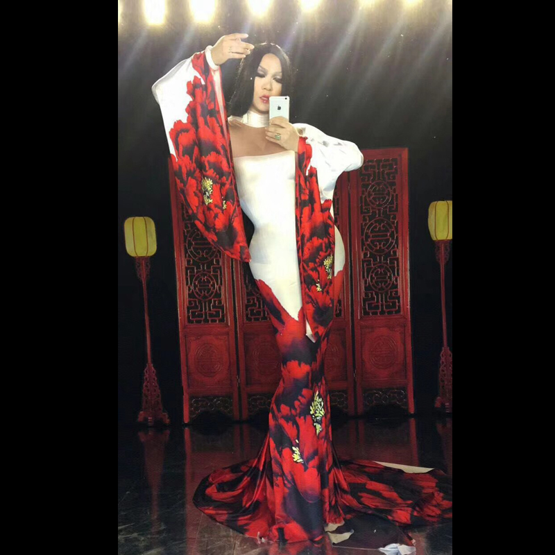 Sexy Red Flower Pattern Printed Dress Nightclub Show Bar Stage Catwalk Costume Birthday Celebrate Performance Clothing DNV10009