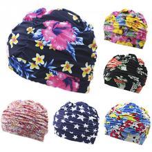 Plissado flor pétala imprime tecido touca de natação natação piscina praia  surf proteger orelhas de cabelo longo caps chapéus pl. 0f629cb7c5d