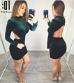 2017 primavera mulheres sexy vestidos bodycon completo manga backless magro bandage dress party club ladies envoltório de veludo vestidos feminino