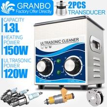 Ультразвуковой очиститель 1.3L 60 Вт/120 Вт 40 кГц нагреватель таймер для чистки нержавеющей стали оборудование ювелирные изделия свечи зажигания Шайба форсунки
