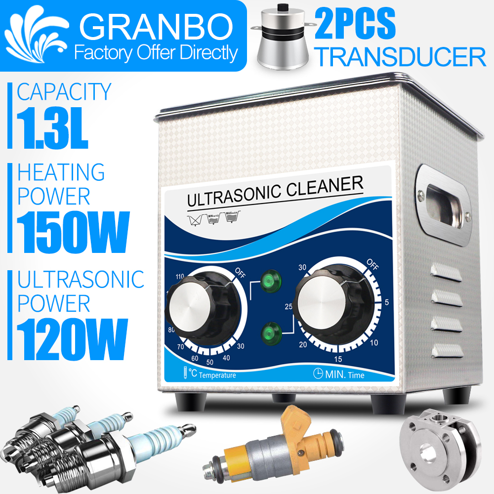 Ultrasound Cleaner 1.3L 60W/120W 40KHZ Heater Timer Stainless Steel Cleaning Equipment Jewelry Spark Plug Injector Washer