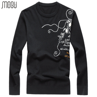 MOGU Printed O Neck Men's Sweater 2017 Autumn New Casual Wool Sweater Men Slim Fit Floral Pullover Male Asian Size Men Sweater