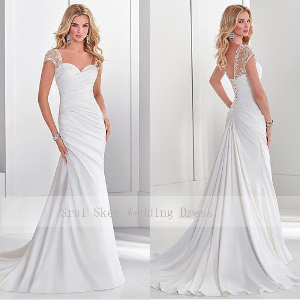 Elegant Sweetheart White Ruched Wedding Dress Cap Sleeve Court Train Chic Back Bridal Gowns Vestidos De