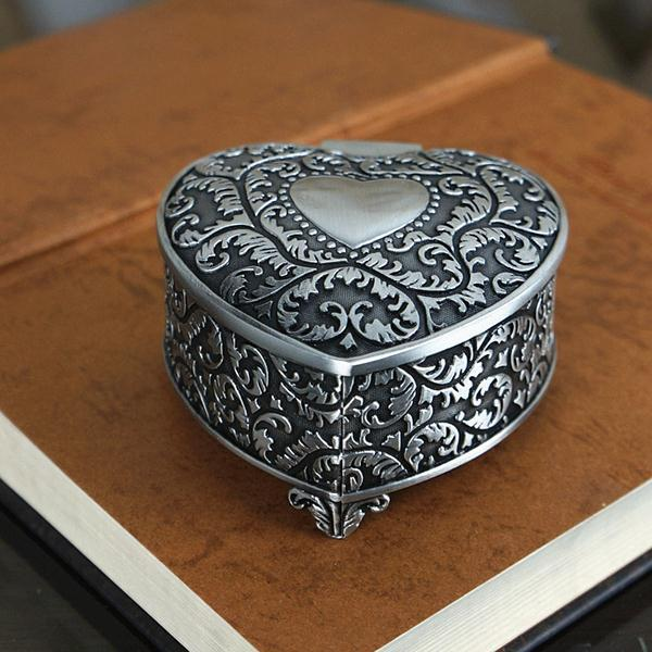 Vintage Small Jewelry Box Metal Heart Shaped with Antique Flower
