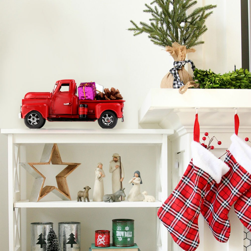 aytai christmas party decor red metal truck kid birthday party gift vintage table top truck christmas table decorations in pendant drop ornaments from
