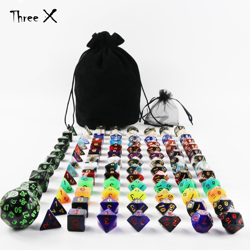 101pcs Polyhedral Dice Plus Pouch,13 Complete Sets of D4 D6 D8 D10 D10% D12 D20 ,1 Set of D4-D60 for RPG DND Boardgame цена 2017