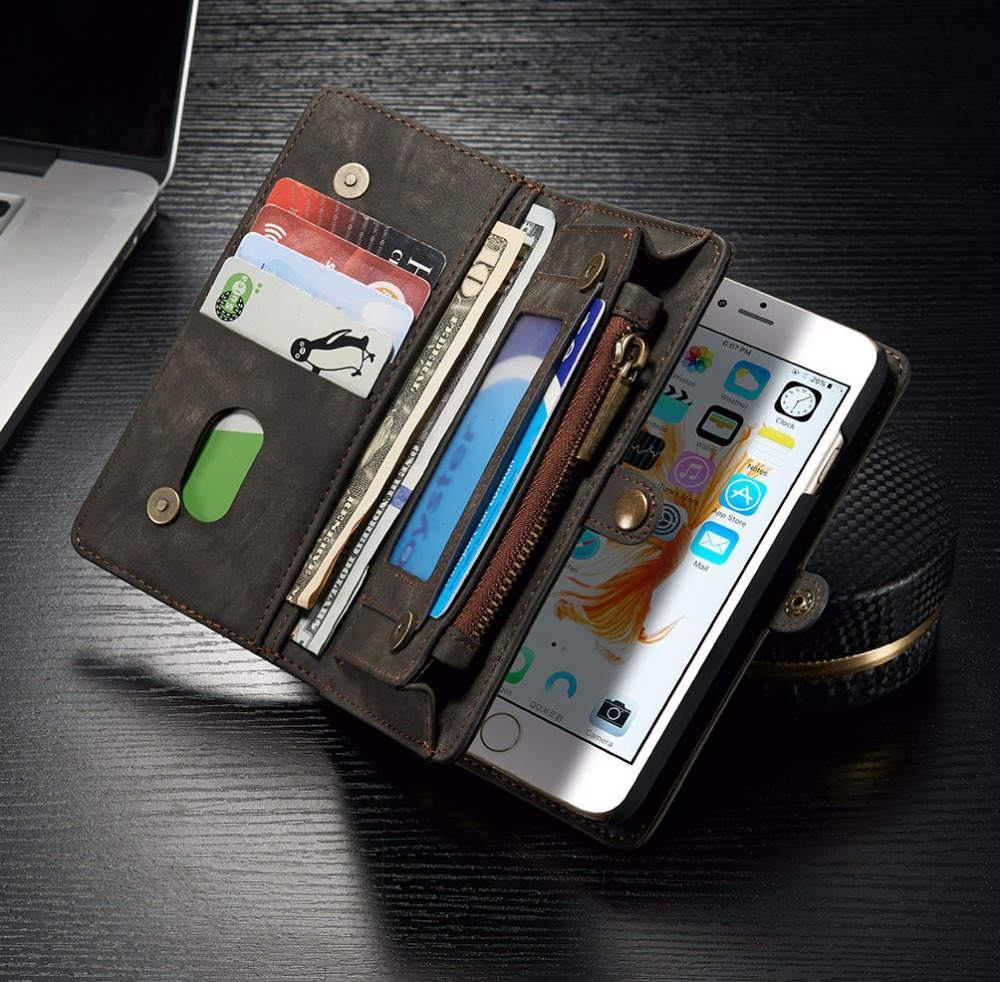 Vintage Phone Case Cover For iPhone 7 7 Plus Retro Leather Multifunction Case Card Holder Zipper Wallet with Card Holder vintage leather multi function wallet card pocket zipper flip case cover for apple iphone 6 6s 4 7