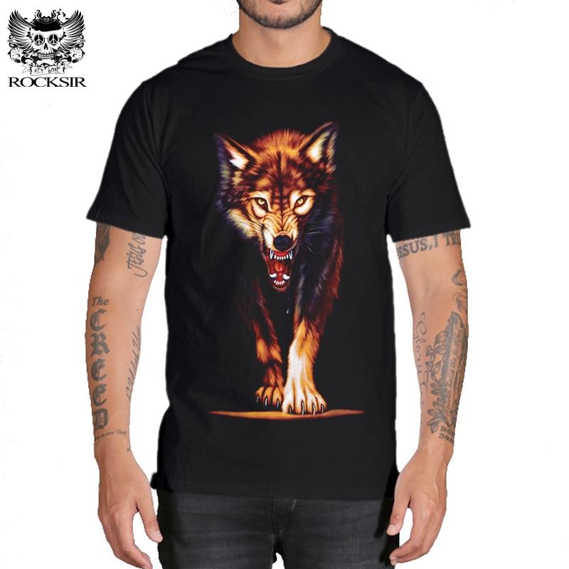 Rocksir 3d wolf t-shirt mens Marke 3D Indians wolf Print t shirts Baumwolle wölfe Männer t-shirt Lässig Mann Herren-oberteile