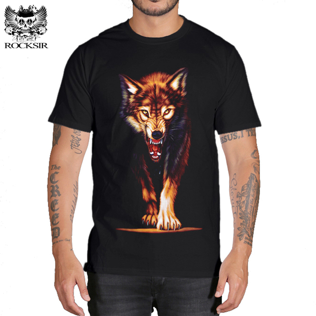 9330f01ef4 Rocksir 3d wolf t shirt mens Brand 3D Indians wolf Print t shirts Cotton wolves  Men t shirt Casual Man Tees Mens Tops-in T-Shirts from Men's Clothing on ...