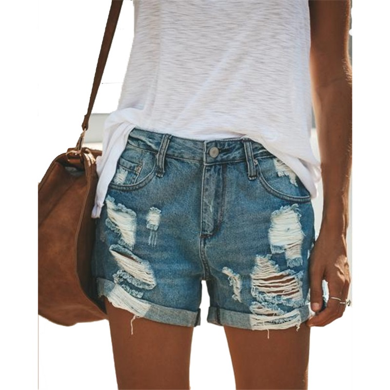 springtime new style shorts Sexy plus size hole Mid waistLight blue women   jeans   loose mom   jean   sripped   jeans   for women