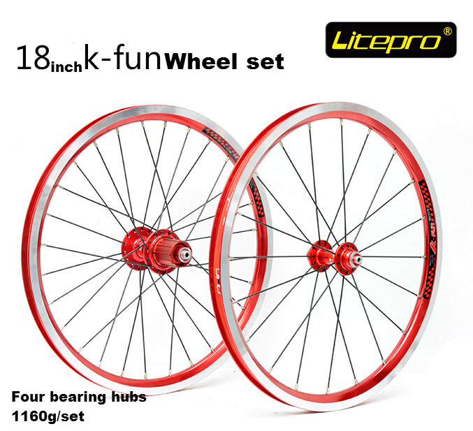 Litepro k-fun 18inch 355 wheels folding bike wheel set four bearing hubs bmx wheelset for ya883 74/130mm ldcnc wheel set bya412 upgrade wheels set folding bike 14 inch lightest wheels lighter than mialo wheels