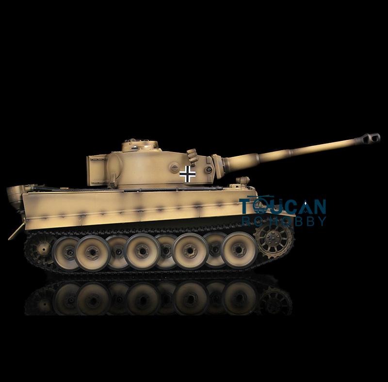 HengLong Yellow German Tiger I 1/16 RTR RC Tank Model Metal Tracks Wheels 360 Degrees Rotation Turret 3818 henglong 1 16 german tiger i rtr rc tank metal track sprockets idler wheels 3818
