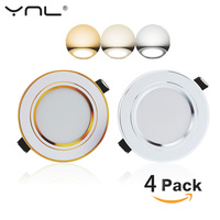 4pcs LED Down Light Changeable 3W Ceiling Recessed Light With Driver 3 Color Change Warm White