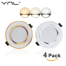 4pcs LED Down light Changeable 3W Ceiling Recessed Light With Driver 3 Color Change Warm White Nature White Cool White