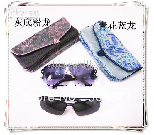 c495680c5a2a Chinese Silk Fabric Designer Sunglasses Cases Sale Vintage Eyeglass Case  10pcs lot mix color Free