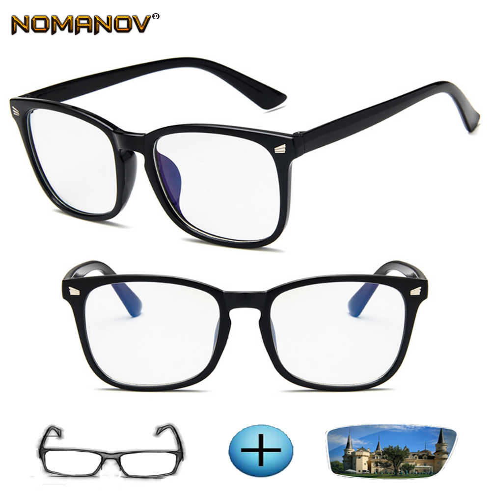 Large Retro Square Ladies Full-rim Optical Frame Custom Made Prescription Glasses Photochromic Grey / Brown Myopia Near-sighted