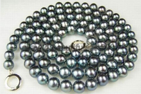 Natural 9 10mm Black AAA Pearl Necklace 32 Factory Wholesale Price Women Gift Word Jewelry