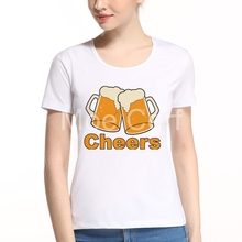 New Arrival Cheers Beer Design T Shirt Women Summer Casual Hipster Tees Funny Short Sleeve O Neck Female Tops Tee L7-116